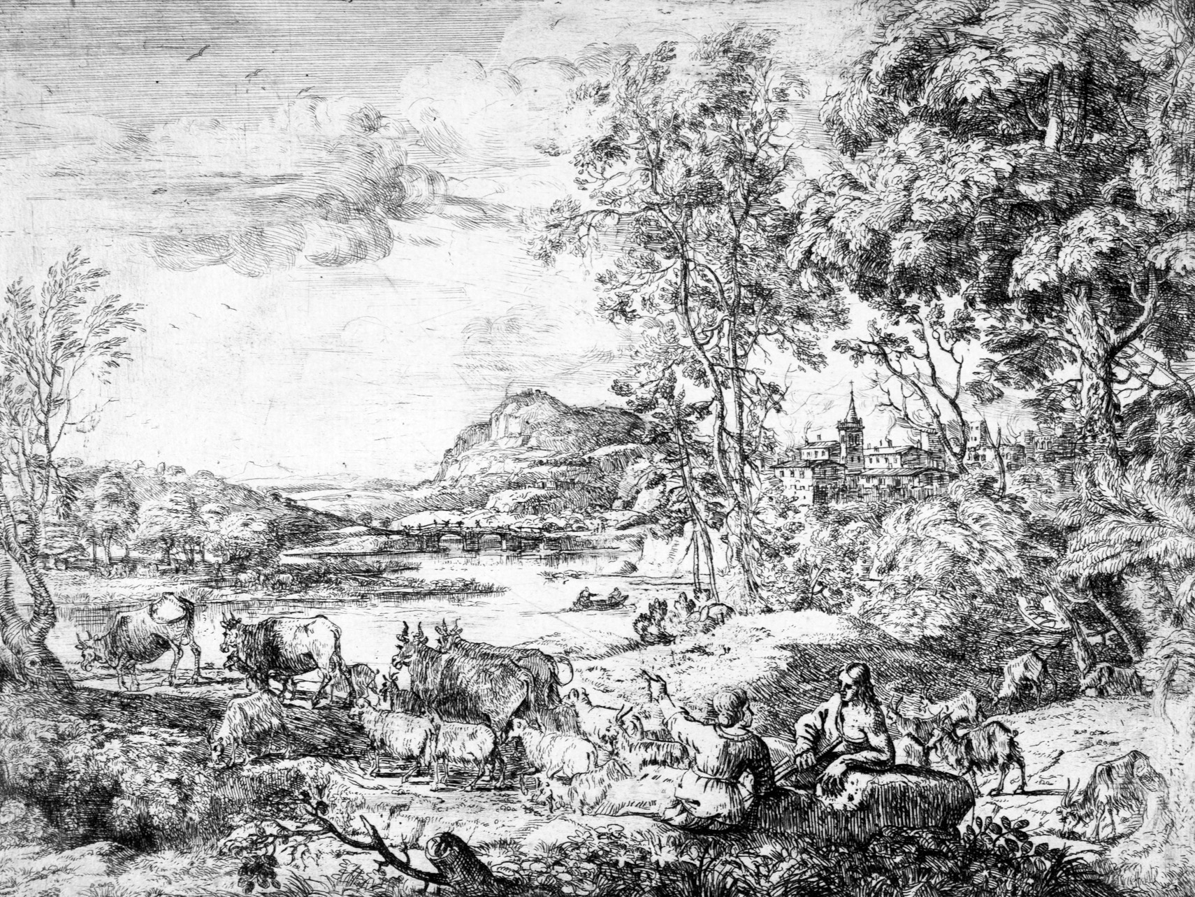 Engraving of landscape with woman, man & domesticated animals.