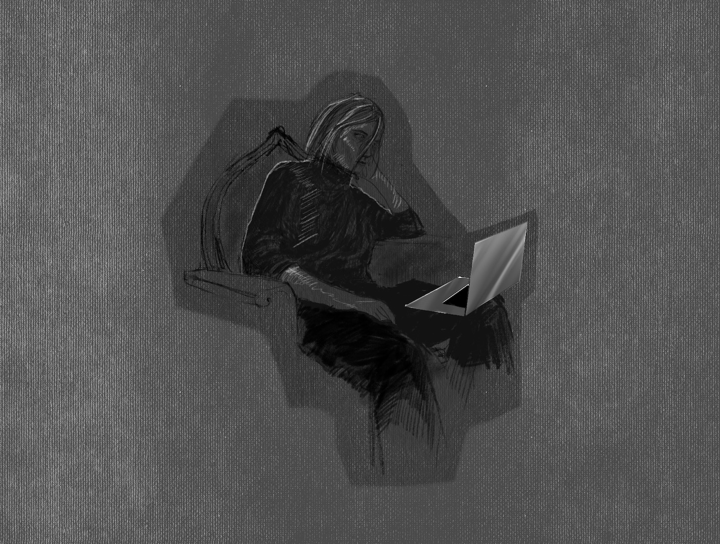 Drawing by Viktoriia Shcherbak of woman with laptop.