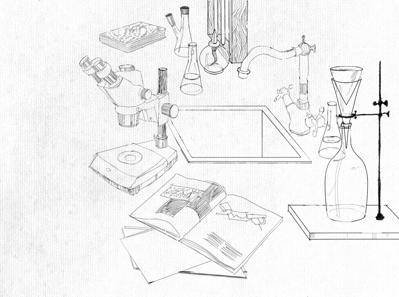 Drawing by Viktoriia Shcherbak of inventor's desk.