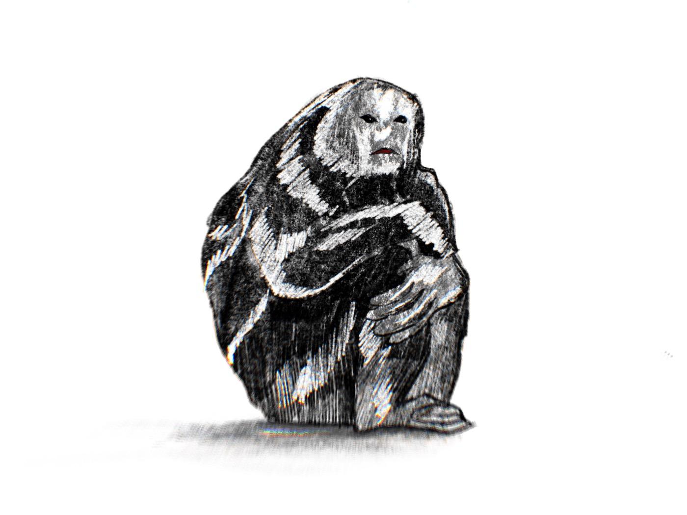 Drawing by Viktoriia Shcherbak of huddling golem.